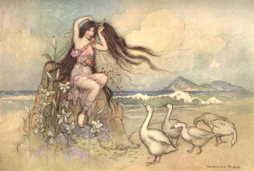 Illustration von Warwick Goble zu dem Märchen Die beiden Kuchen aus dem Pentameron von Giambattista Basile