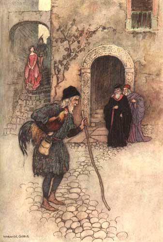 Illustration von Warwick Goble zu dem Märchen Der Hahnenstein aus dem Pentameron von Giambattista Basile