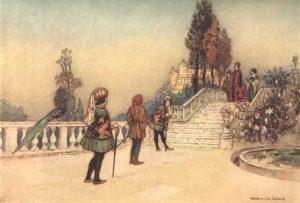 Der Kaufmann. Illustration Warwick Goble