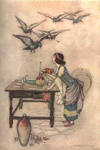 Illustration von Warwick Goble zu dem Märchen Die sieben Tauben aus dem Pentameron von Giambattista Basile