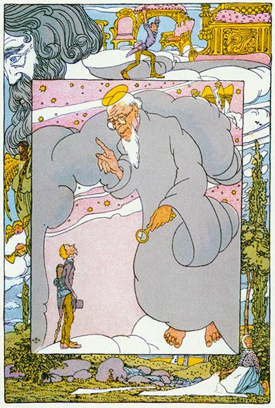 Illustration von Heinrich Vogeler zu dem Märchen Der Schneider im Himmel