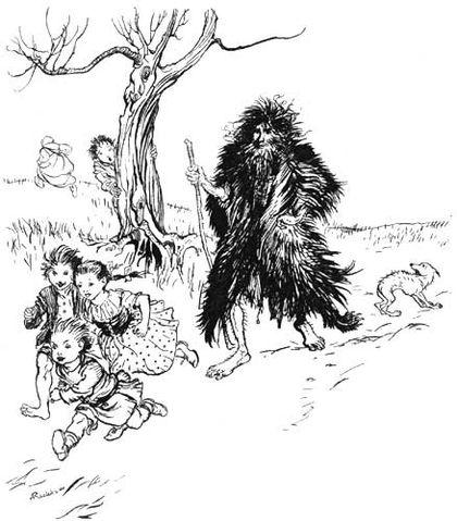 Illustration von Arthur Rackham zu dem Märchen Der Bärenhäuter