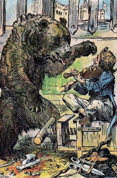 Illustration von Paul Meyerheim zu dem Märchen Vom klugen Schneiderlein.