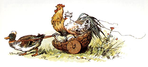 Illustration von Alexander Zick zu dem Märchen Das Lumpengesindel. Die Ente muss den Wagen mit Hühnchen und Hähnchen ziehen.