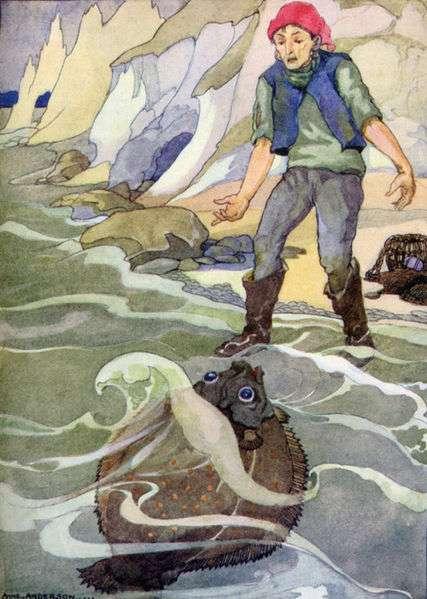 Illustration von Anne Anderson zu dem Märchen Der Fischer und seine Frau