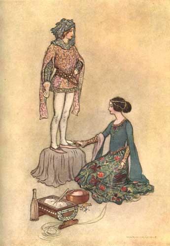 Illustration von Warwick Goble zum Märchen Pintosmalto aus dem Pentamerone von Giambattista Basile