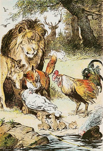 Illustration von Paul Meyerheim zu dem Märchen Von dem Tode des Hühnchens