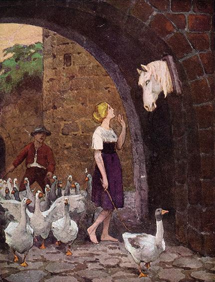 Die Königstochter führt ihre Gänse zur Weide. Illustration von Franz Müller-Münster zu dem Märchen die Gänsemagd