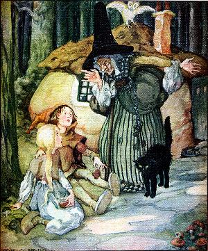 Die Hexe ertappt Hänsel und Gretel, die Pfefferkuchen von ihrem Haus abgebrochen haben. Illsutration von Anne Anderson