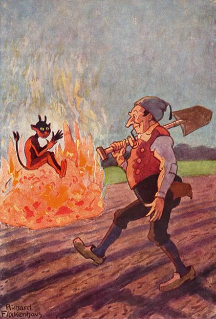 Illustration von Richard Flockenhaus zu dem Märchen Der Bauer und der Teufel von den Brüdern Grimm