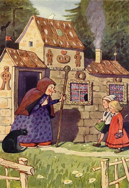 Hänsel und Gretel haben Pfefferkuchen vom Haus der Hexe genascht. Illustration von Richard Flockenhaus