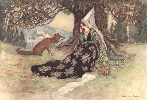 Illustration von Warwick Goble zu dem Märchen Die Schlange aus dem Pentameron von Giambattista Basile