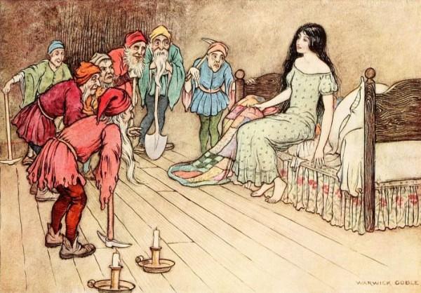 Die sieben Zwerge finden Schneewittchen in einem ihrer Betten. Illustration Warwick Goble