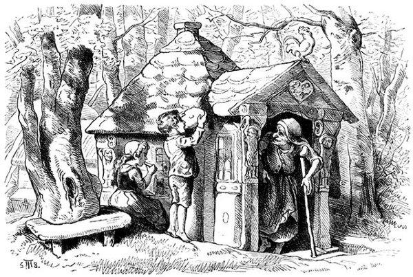Illustration von Theodor Hosemann zu dem Märchen Hänsel und Gretel. Die Kinder entdecken das Knusperhäuschen.