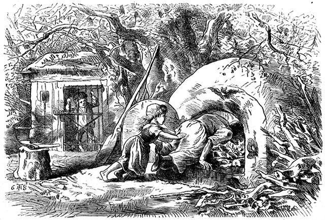 Illustration von Theodor Hosemann zu dem Märchen Hänsel und Gretel. Gretel schubst die Hexe in den Ofen.