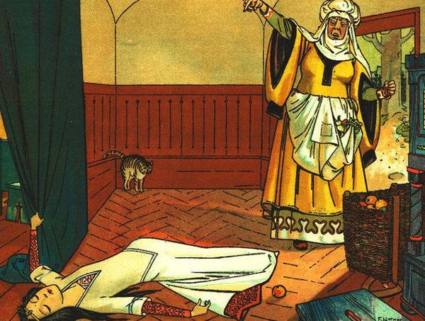 Die böse Stiefmutter vergiftet Schneewittchen mit einem Apfel. Illustration von Franz Jüttner