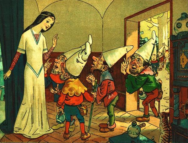 Schneewittchen bei den sieben Zwergen, Illustration von Franz Jüttner
