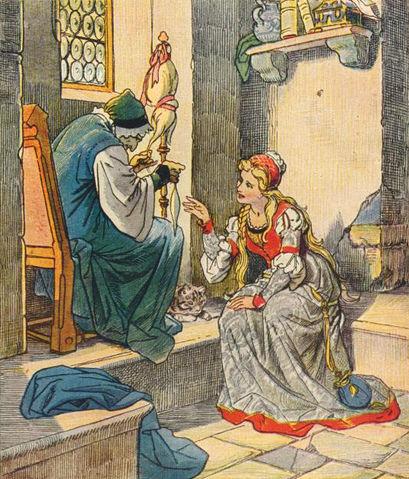 Illustration von Eugen Klimsch zu dem Märchen Dornröschen: Die Königstochter sticht sich an der Spindel