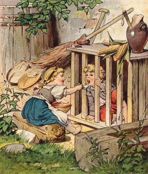 Gretel füttert ihren Bruder Hänsel, der von der Hexe eingesperrt wurde. Illustration von Eugen Klimsch
