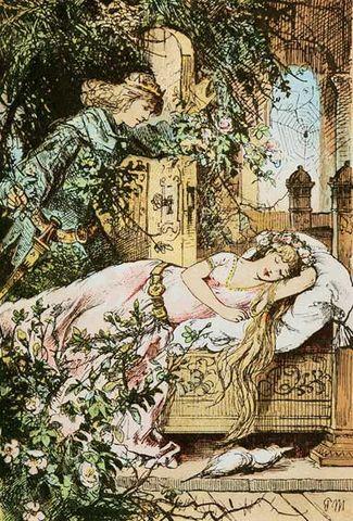 Illustration von Paul Meyerheim zu dem Märchen Dornröschen