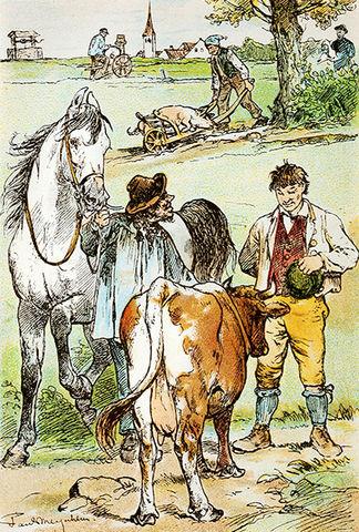 Illustration von Paul Meyerheim zu dem Märchen Hans im Glück