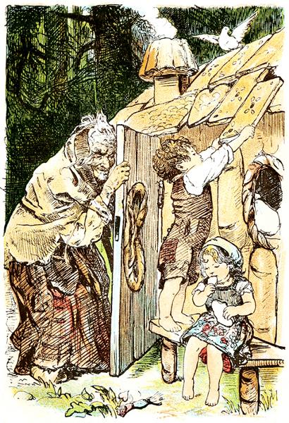 Hänsel und Gretel entdecken das Knusperhäuschen der Hexe. Illustration von Paul Meyerheim