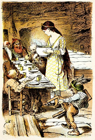 Schneewittchen kocht für die sieben sieben Zwerge. Illustration von Paul Meyerheim