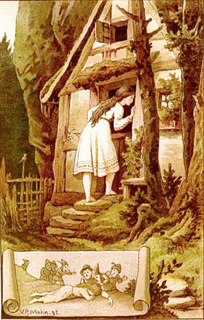 Schneewittchen entdeckt im Wald das Haus der sieben Zwerge. Illustration von  Victor Paul Mohn
