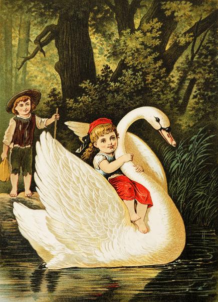 Illustration von Carl Offterdinger. Hänsel und Gretel haben die Hexe besiegt und finden zurück nach Hause.