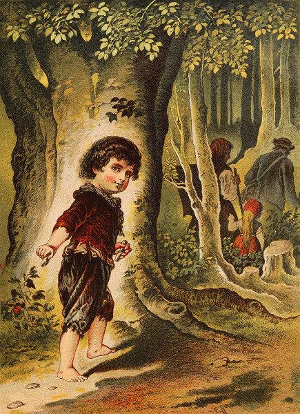 Illustration von Carl Offterdinger. Hänsel und Gretel werden von ihren Eltern in den Wald geführt.