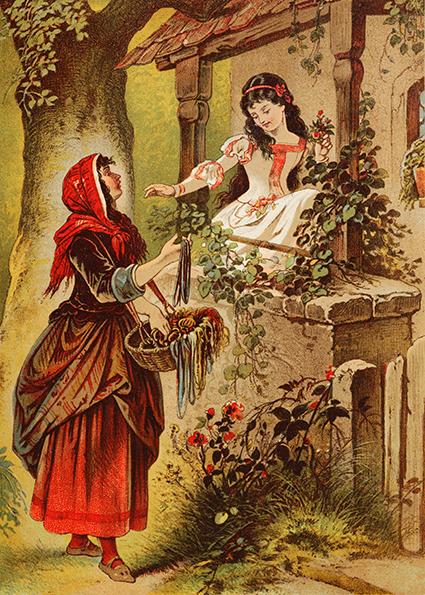 Schneewittchens Stiefmutter hat sich als Händlerin verkleidet. Illustration von Carl Offterdinger