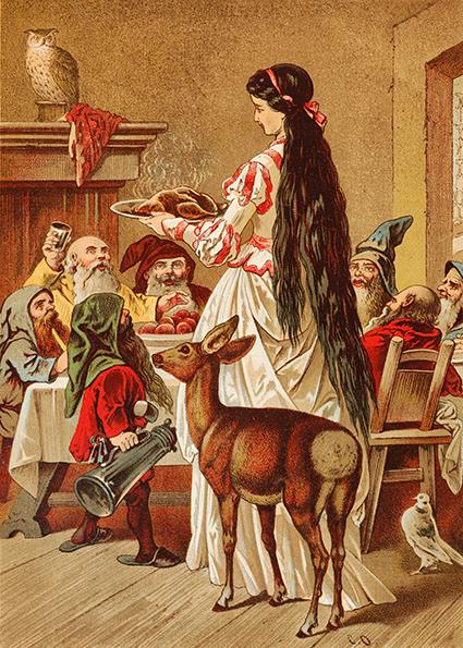 Schneewittchen kocht für die sieben Zwerge. Illustration von Carl Offterdinger