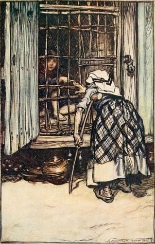 Die Hexe prüft, ob Hänsel schon fett genug ist. Illustration von Arthur Rackham