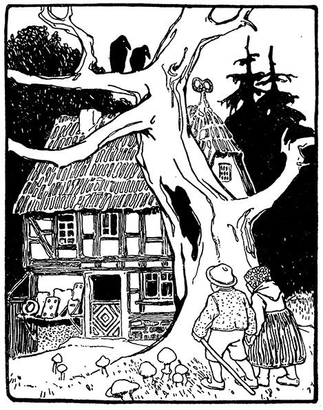 Hänsel und Gretel entdecken das Knusperhäuschen. Illustration von Otto Ubbelohde