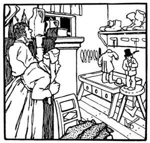 Illustration von Otto Ubbelohde zu dem Märchen Die Wichtelmänner von den Brüdern Grimm