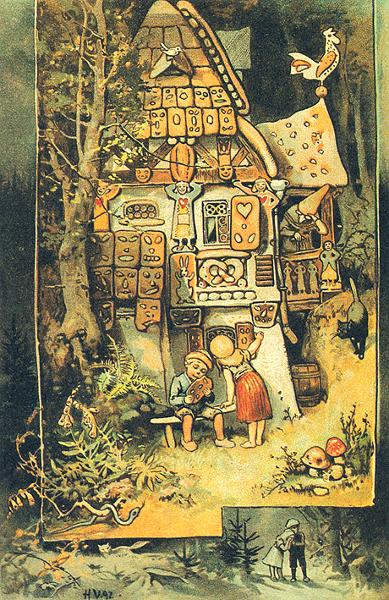 Hänsel und Gretel entdecken das Knusperhäuschen der Hexe. Illustration von Hermann Vogel