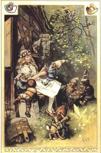 Schneewittchen und die sieben Zwerge. Illustration von Hermann Vogel