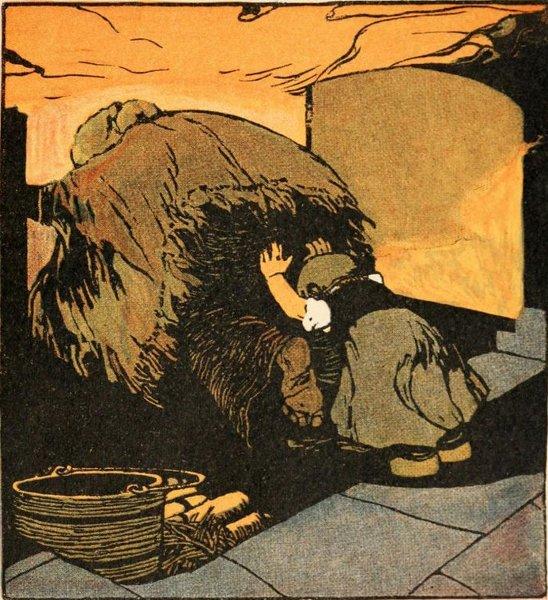 Gretel schubst die Hexe in den Ofen. Illustration von Albert Weisgerber