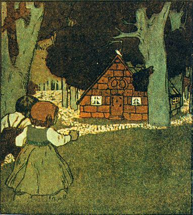 Hänsel und Gretel entdecken das Hexenhaus. Illustration von Albert Weisgerber