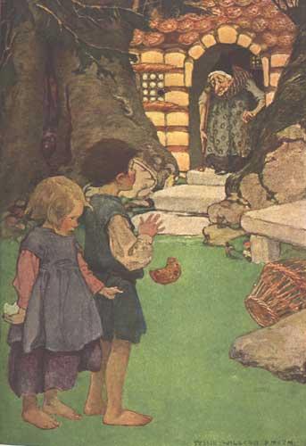 Hänsel und Gretel haben Pfefferkuchen vom Haus der Hexe genascht. Illustration von Jessie Willcox Smith