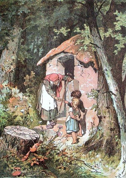 Hänsel und Gretel mit Hexe, Illustration Alexander Zick