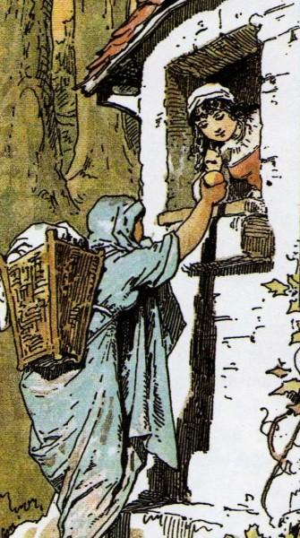 Schneewittchen kauft der Händlerin einen Apfel ab. Illustration von Alexander Zick
