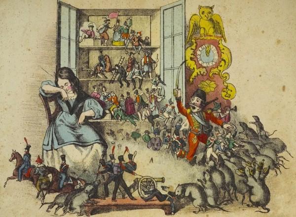 In der Weihnachtsnacht kämpft der Nußknacker gegen den Mausekönig. Illustration von Peter Carl Geissler