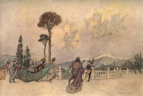 Illustration von Warwick Goble zu dem Märchen Der Drache aus Giambattista Basiles Pentamerone