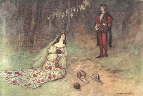 Illustration von Warwick Goble zu dem Märchen Die Taube aus dem Pentameron von Giambattista Basile