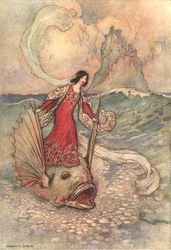 Illustration von Warwick Goble zu dem Märchen Die drei Tierbrüder aus dem Pentamerone von Giambattista Basile