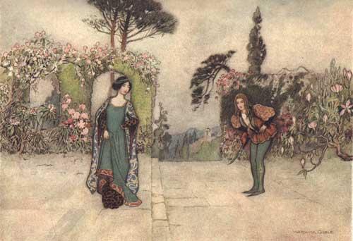 Illustration von Warwick Goble zum Märchen Viola aus dem Pentamerone von Giambattista Basile
