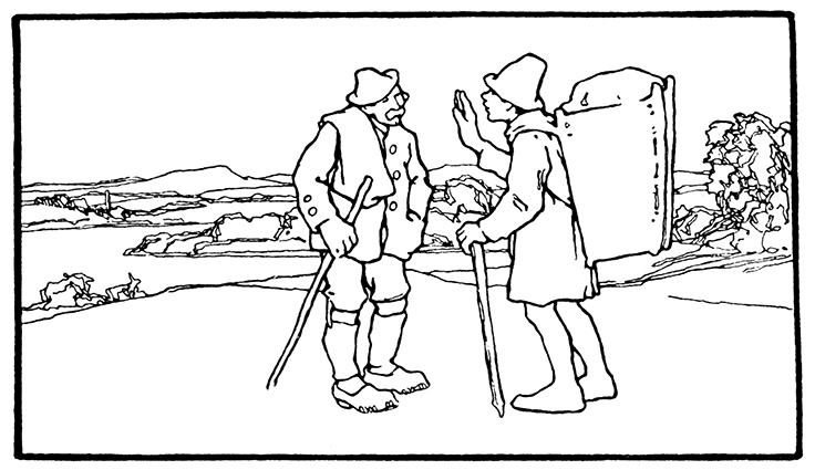 Illustration von Otto Ubbelohde zu dem Märchen Der alte Hildebrand. Hildebrand trifft den Eiermann