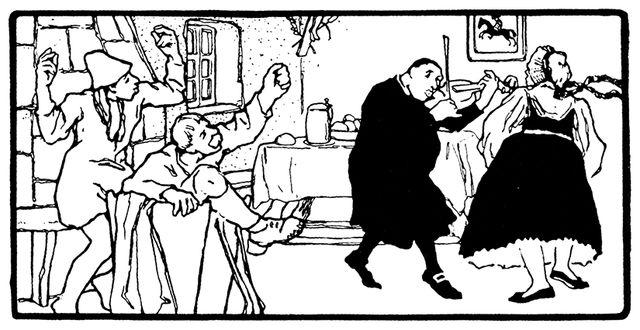 Illustration von Otto Ubbelohde zu dem Märchen Der alte Hildebrand. Der Pfarrer tanzt mit Hildebrands Frau