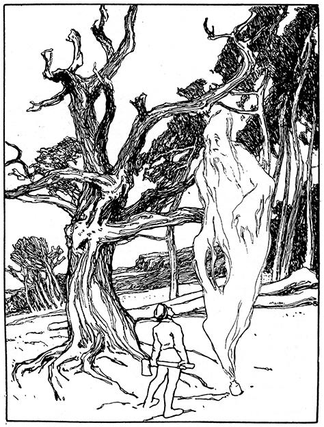 Illustration von Otto Ubbelohde zu dem Märchen Der Geist im Glas